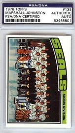 Marshall Johnston Autographed 1976 Topps Card #135 California Golden Seals PSA/DNA #83465801