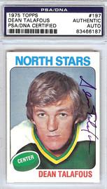 Dean Talafous Autographed 1975 Topps Card #197 Minnesota North Stars PSA/DNA #83466187