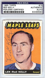 Red Kelly Autographed 1965 Topps Card #15 Toronto Maple Leafs PSA/DNA #83466584