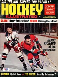 Henri Richard Autographed Hockey Illustrated Magazine Cover Montreal Canadiens PSA/DNA #U93586