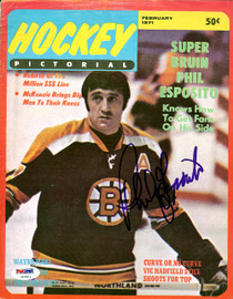 Phil Esposito Autographed Hockey Pictorial Magazine Cover Boston Bruins PSA/DNA #U93811