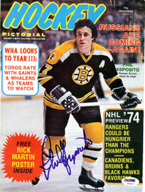 Phil Esposito Autographed Hockey Pictorial Magazine Cover Boston Bruins PSA/DNA #U93817