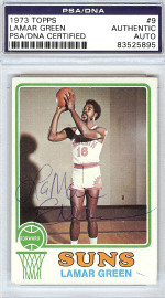 Lamar Green Autographed 1973 Topps Card #9 Phoenix Suns PSA/DNA #83525895