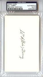 William Bill Terry Autographed Index Card PSA/DNA #83543678