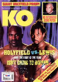 Evander Holyfield & Lennox Lewis Autographed KO Boxing Magazine PSA/DNA #V57392