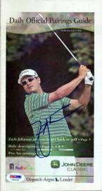 Zach Johnson Autographed 5.5x10.5 Program PSA/DNA #V56040