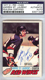 Andre St. Laurent Autographed 1977 O-Pee-Chee Card #171 Detroit Red Wings PSA/DNA #83571449