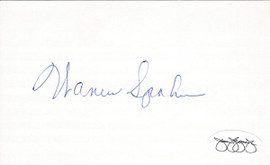 Warren Spahn Autographed 3x5 Index Card JSA Sku #80585