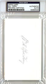 William Bill Terry Autographed 3x5 Index Card PSA/DNA #83694529