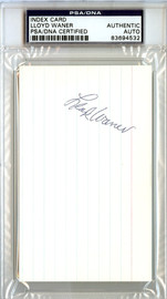 Lloyd Waner Autographed 3x5 Index Card Pittsburgh Pirates PSA/DNA #83694532