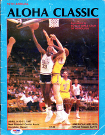 Jim Valvano, Reggie Miller, Scottie Pippen & Reggie Lewis Autographed Aloha Classic Program With 9 Total Signatures PSA/DNA #W04097
