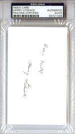 "Harry Litwack Autographed 3x5 Index Card Temple Owls Coach ""Good Luck"" PSA/DNA #83721499"