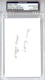 "Harry Litwack Autographed 3x5 Index Card Temple Owls Coach ""Good Luck"" PSA/DNA #83721501"