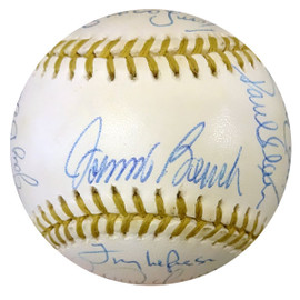 Official MLB Gold Glove Winners Autographed Gold Glove Baseball With 20 Signatures Including Johnny Bench, Curt Flood & Roberto Alomar PSA/DNA #W06916