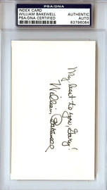 """William Bakewell Autographed 3x5 Index Card """"To Gary"""" PSA/DNA #83796084"""