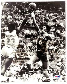 "Julius ""Dr. J"" Erving & John Williamson Autographed 8x10 Photo ""To Joe Good Luck"" PSA/DNA #Y29137"