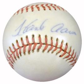 Hank Aaron Autographed NL Feeney Baseball Atlanta Braves Vintage Playing Days Signature PSA/DNA #Z32807