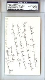 Merlin Malinowski Autographed 3x5 Index Card PSA/DNA #83812199