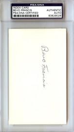 Bevo Francis Autographed 3x5 Index Card PSA/DNA #83829026