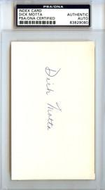 Dick Motta Autographed 3x5 Index Card Bullets, Bulls PSA/DNA #83829080