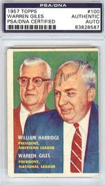 Warren Giles Autographed 1957 Topps Card #100 PSA/DNA #83828587
