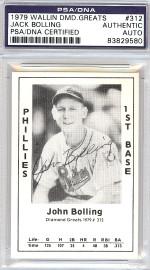 Jack Bolling Autographed 1979 Diamond Greats Card #312 Phillies PSA/DNA #83829580