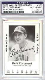 Pete Coscarart Autographed 1979 Diamond Greats Card #365 Pirates PSA/DNA #83829610