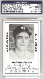 Walt Masterson Autographed 1979 Diamond Greats Card #68 Senators PSA/DNA #83829742