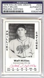 Walt Millies Autographed 1979 Diamond Greats Card #306 Phillies PSA/DNA #83829746