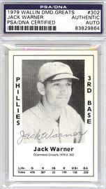 Jack Warner Autographed 1979 Diamond Greats Card #302 Phillies PSA/DNA #83829864