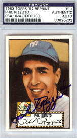 Phil Rizzuto Autographed 1952 Topps Reprint Card #11 New York Yankees PSA/DNA #83826202