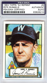 Pete Runnels Autographed 1952 Topps Reprint Card #2 Washington Senators PSA/DNA #83826210