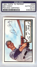 Dee Fondy Autographed 1952 Topps Reprint Card #359 Chicago Cubs PSA/DNA #83826538