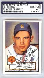 John Lipon Autographed 1952 Topps Reprint Card #89 Detroit Tigers PSA/DNA #83826627
