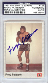 Floyd Patterson Autographed 1991 AW Sports Boxing Card #124 PSA/DNA #83825901