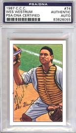 Wes Westrum Autographed 1952 Bowman Reprints Card #74 New York Giants PSA/DNA #83826055