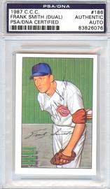 Frank Smith Autographed 1952 Bowman Reprints Card #186 Cincinnati Reds Signed Twice PSA/DNA #83826076
