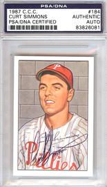 Curt Simmons Autographed 1952 Bowman Reprints Card #184 Philadelphia Phillies PSA/DNA #83826081