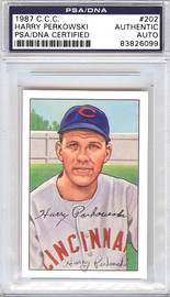 Harry Perkowski Autographed 1952 Bowman Reprints Card #202 Cincinnati Reds PSA/DNA #83826099
