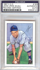 John Lipon Autographed 1952 Bowman Reprints Card #163 Detroit Tigers Signed Twice PSA/DNA #83826123