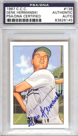 Gene Hermanski Autographed 1952 Bowman Reprints Card #136 Chicago Cubs PSA/DNA #83826145