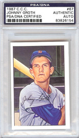 Johnny Groth Autographed 1952 Bowman Reprints Card #67 Detroit Tigers Signed Twice PSA/DNA #83826154