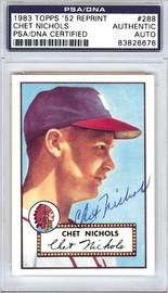 Chet Nichols Autographed 1952 Topps Reprint Card #288 Boston Braves PSA/DNA #83826676