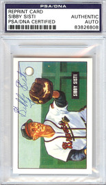 Sibby Sisti Autographed 1951 Bowman Reprints Card #170 Boston Braves PSA/DNA #83826808