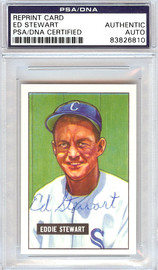 Ed Stewart Autographed 1951 Bowman Reprints Card #159 Chicago White Sox PSA/DNA #83826810
