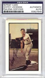 Whitey Lockman Autographed 1953 Bowman Reprint Card #128 New York Giants PSA/DNA #83827646