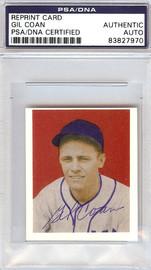 Gil Coan Autographed 1949 Bowman Reprint Card #90 Washington Senators PSA/DNA #83827970