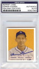 Fermin Guerra Autographed 1949 Bowman Reprint Card #155 Philadelphia A's PSA/DNA #83827983