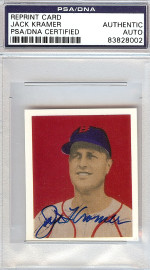 Jack Kramer Autographed 1949 Bowman Reprint Card #53 Boston Red Sox PSA/DNA #83828002