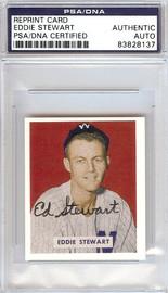 "Ed ""Eddie"" Stewart Autographed 1949 Bowman Reprints Card #173 Washington Senators PSA/DNA #83828137"
